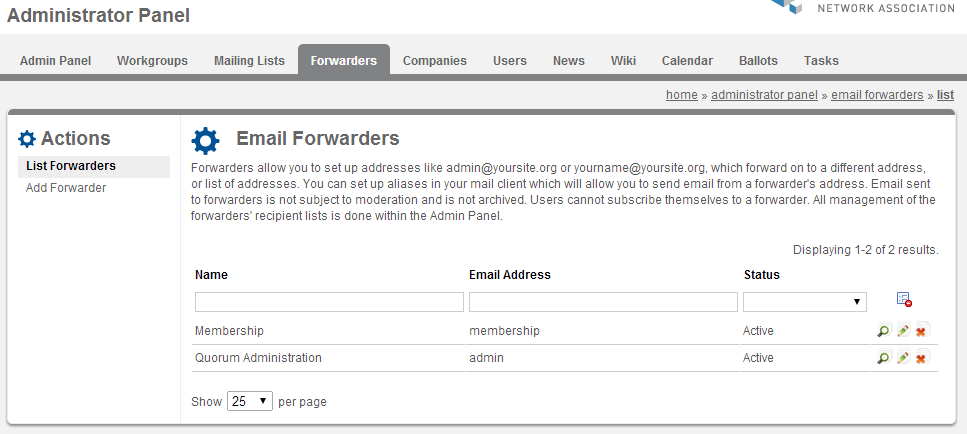 Screenshot of Forwarders page