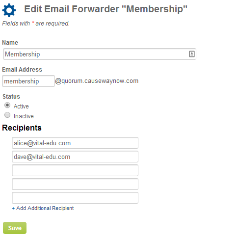 Screenshot of Forwarder form