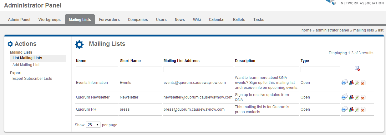 Managing Mailing Lists | Causeway Collaboration