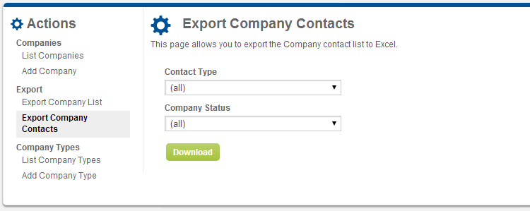 Screenshot of Company Contacts Export page