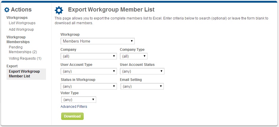 Screenshot of Export Workgroup Member page