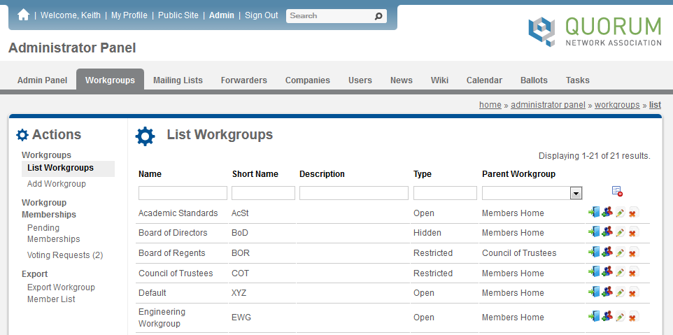 Screenshot of the Workgroups List page