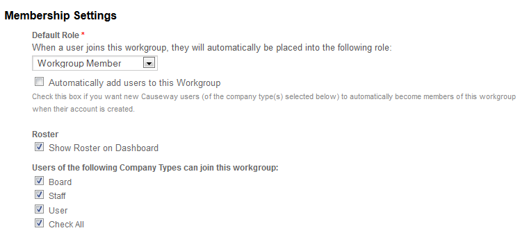 Screenshot of add workgroup page